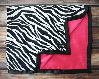 Minky Blanket, Zebra Print, Zebra Minky, Hot pink and black, Blanket for girl, Soft minky Blanket, Minky and Satin, Baby Blanket, Baby gift