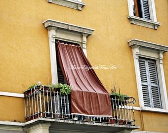 Italy Print ,Yellow, Color, Balcony, Window, Drapes,Shutters, Tuscan Wall Art,Wine Country Theme Art,Kitchen Art, Italian Home,Rustic,Orange
