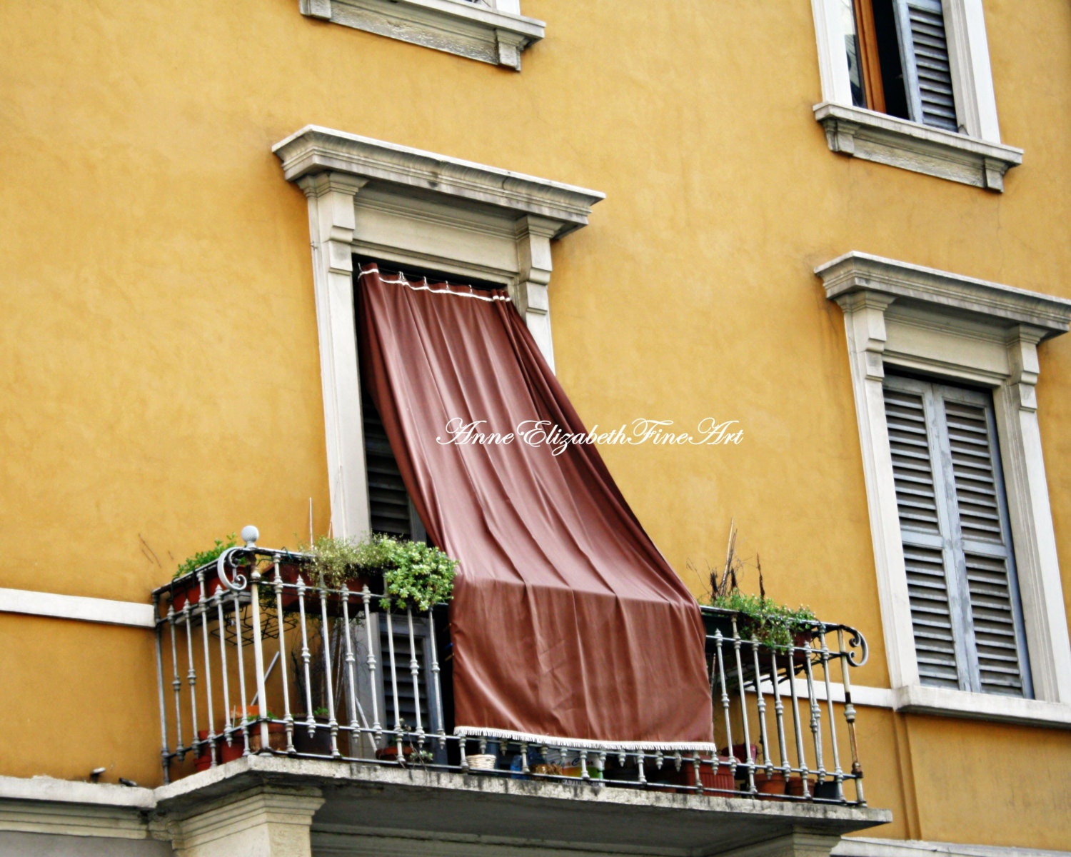 Italy print yellow color balcony window drapesshutters for Italian balcony
