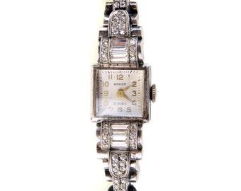Vintage Art Deco Boden Edehstahl 935 Sterling Paste Watch Anker 15 Rubies