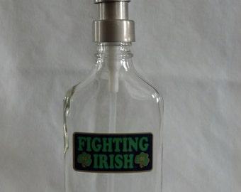 Notre Dame University glass Soap, Sanitizer or Lotion Dispenser