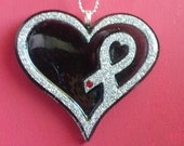 Diabetes Awareness Ribbon Heart Necklace