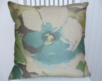 Aqua White Green Pillow Cover-- 18x18 or 20x20 or 22x22 Decorative Throw Pillow  Eclectic,Transitional Throw Pillow