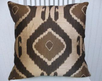 Brown Ikat Pillow Cover-- Decorative IKAT 18x18 or 20x20 or 22x22--Accent Pillow Cover,  Throw Pillow Cover