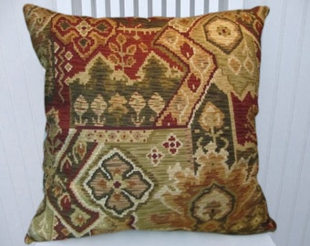 Olive Decorative Pillow Cover-, Rust, Cream, Gold 18x18 or 20x20 or 22x22 Throw Pillow- Kilim Design Throw Pillow--Accent Pillows