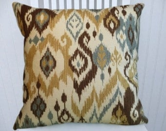 Brown Blue Gold Ikat  Pillow Cover--18x18 or 20x20 or 22x22-Duralee Accent Pillow Cover--Gold, Brown, Blue, Off White