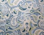 Paisley Cotton Fabric Metre Misty Blue Green Large Paisley Print Timeless Treasures 1m