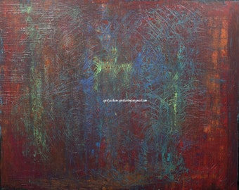 Hours Spent Circling Eternity Red Blue Green Orange Textured Abstract Expressionist Painting 48x72 4x6