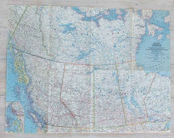 1966 western canada national geographic wall map