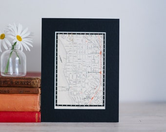 "1950s map of Melbourne suburbs, Australia - Brighton and Gardenvale, ready to frame, 6 x 8"""