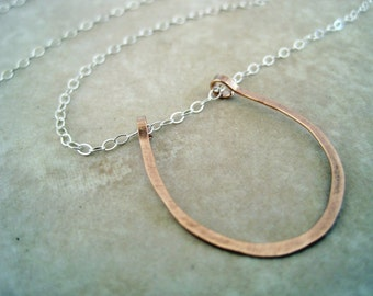 rose gold horseshoe necklace - rose gold jewelry - good luck charm