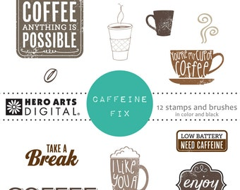 Hero Arts Caffeine Fix DK114  Coffee and Latte  Digital Kit Instant Download