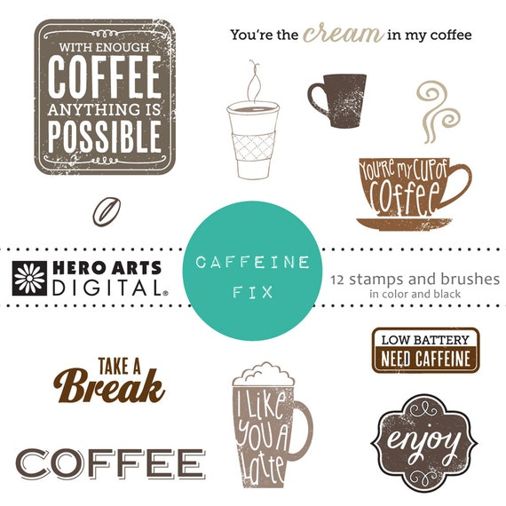 Hero Arts Caffeine Fix DK114  Coffee and Latte  Digital Kit Instant Download