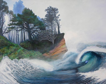 """Stormy Seas/ 8.5"""" x 11"""" Giclee on Archival Paper Print/ Surf Art"""