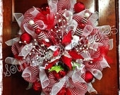 Peppermint Colored Christmas Wreath
