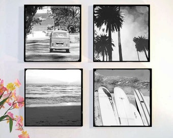 Black and White Surfer Photography, Wood Block Photo Set, Palm Trees, Surfboards, VW Bus, Beach Wall Art, Gift Idea