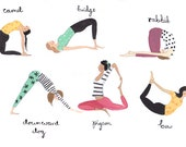 Yoga Ladies A4 Art Print