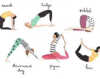 Yoga Ladies A4 Art Print