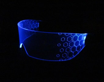 The original Illuminated Cyber goth visor HEX neon blue