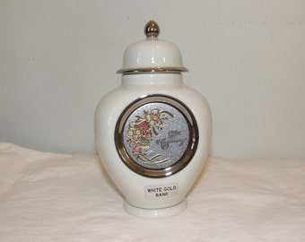 Vintage 25th Anniversary Ceramic Chokin Container with Lid Decorated with Copper Silver and Gold by Roman of Japan
