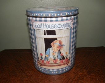 Vintage Good Housekeeping Tin 1928 The Hearst Corp Lithograph of Girl planting Tulips