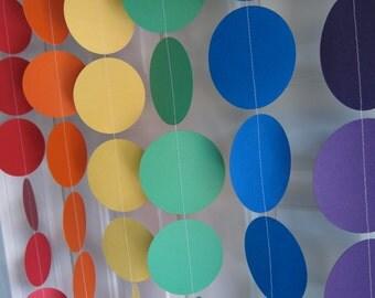 Rainbow Party, Paper Garland, Yo Gabba Gabba Theme Birthday, 1st Birthday, Sesame Street Theme Party, St. Patricks Day, Rainbow Garland