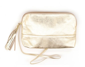 Gold Leather Bridesmaid Clutch Wristlet, Elegant Metallic Evening Handbag, Small Handmade Party Bag, Leather Over the Shoulder Wristlet Bag