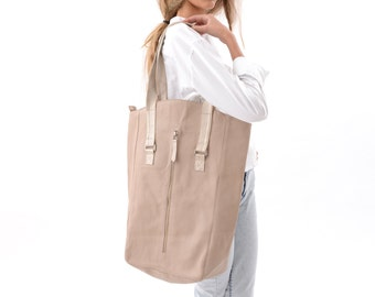 Classic Large Beige Tote Bag with Gold & White Straps, Oversized Chic Carryall Bag, Designer Leather Tote for Everyday Wear, Laptop Bag