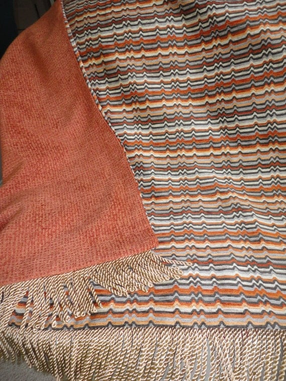 Contemporary Orange And Gray Chenille Throw Blanket One Of A
