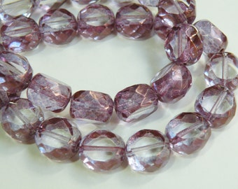 Lilac Picasso finish Czech glass faceted table cut oval beads 12x11x8mm half strand NS-357