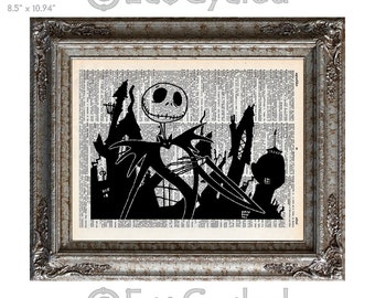 Jack Skellington 10 Nightmare Before Christmas on Vintage Upcycled Dictionary Art Print Book Art Print Recycled Book Lover Art Gift