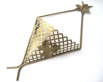 Vintage metal wall basket mid century modern maple leaf glam decor wall pocket