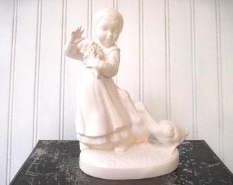 Vintage goose girl lamp base  white cottage decor duck