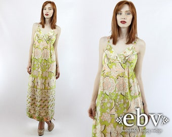Vintage 70s Vanity Fair Green + Pink Floral Maxi Dress XS S Vintage Hippie Dress Hippy Dress Summer Dress Festival Dress