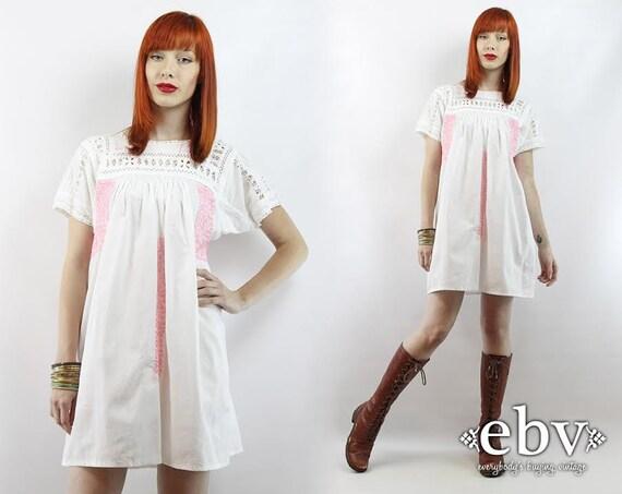 vintage ann es 70 blanc brod robe mini robe d 39 t robe. Black Bedroom Furniture Sets. Home Design Ideas
