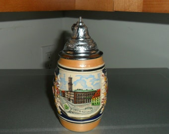 Vintage Mini Beer Stein with Pewter Lid Made in Germany