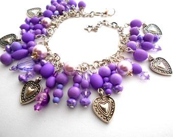 Purple Heart beaded charm Handmade Bracelet