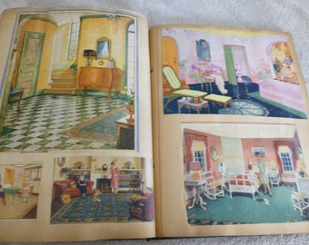 Scrapbook Vintage 1920s and 1930s Era Pictures of Home Interiors, Children, Pets, Religious