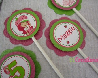 Strawberry Shortcake Cupcake Toppers - set of 12
