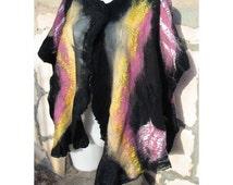 Felt Blouse,Woman Shawl Poncho,Wool Felt Wrap,Woman Capelet,Felt Wool Blouse,Wool Tunic,Nuno Felt Poncho,Black Blouse