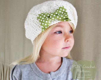 Crochet Pattern: The Beau Beret -Toddler, Child, & Adult Sizes- simple bow slouchy tam felt