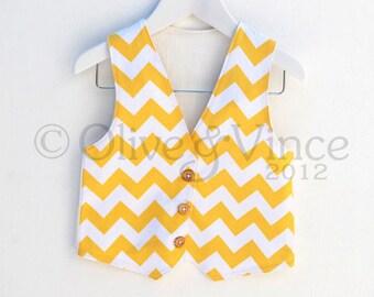 Summer wedding yellow chevron sunshine waistcoat vest kids formal wear white zigzag childrens wedding clothing boy smart toddler tank lemon