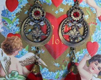 SALE - Circa 1920s / 1930s Antique Art Nouveau / Art Deco Czech Glass Dangle Earrings with Ruby Red-Colored Glass Dangles / Drops