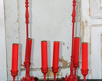 Pair of Horn Brass Lamps Painted Red By Foo Foo La La