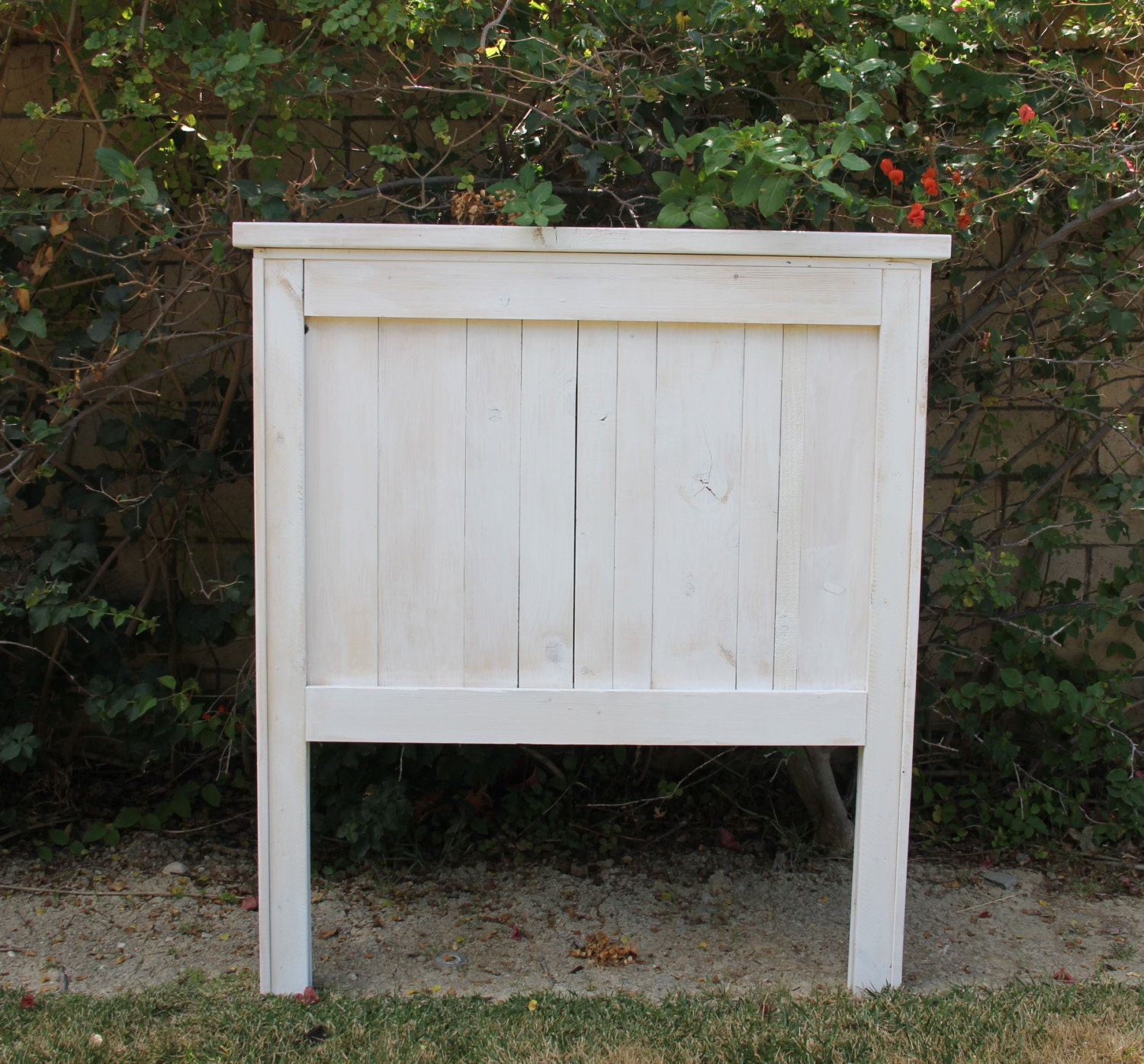 Farmhouse Headboard Painted and distressed Vertical Slats by