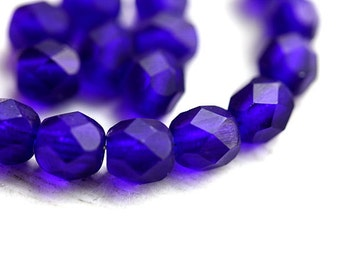Matte Cobalt blue czech glass beads, Fire polished, round faceted spacers, dark blue - 6mm - 30Pc - 0058