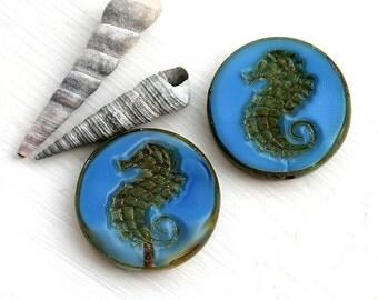 Seahorse Picasso bead - Sea Blue - czech glass beads, large, round, tablet shape, nautical, beach - 23mm - 2Pc - 1551