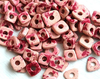 Chip beads, Greek Pink ceramic beads, Spotted Pink tiny spacers, mykonos, 5mm - approx.70pc - 0464