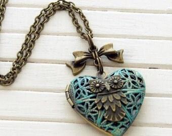 Owl Locket .. verdigris owl locket, heart locket, owl jewellery, green locket, bird locket, owl necklace, small locket