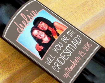 Custom Wine Labels - Will You Be My Bridesmaid? (Set of 5)